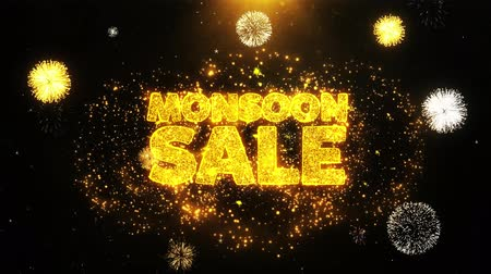 cupom : Monsoon Sale Text Sparks Particles Reveal from Golden Firework Display explosion 4K. Greeting card, Celebration, Party Invitation, calendar, Gift, Events, Message, Holiday, Wishes Festival . Vídeos