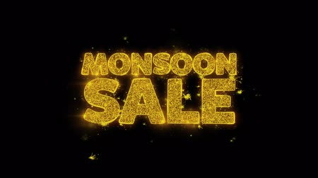 monszun : Monsoon Sale Typography Written with Golden Particles Sparks Fireworks Display 4K. Greeting card, Celebration, Party Invitation, calendar, Gift, Events, Message, Holiday, Wishes Festival .