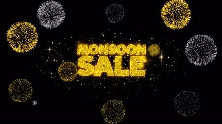 cupom : Monsoon Sale Golden Greeting Text Appearance Blinking Particles with Golden Fireworks Display 4K for Greeting card, Celebration, Invitation, calendar, Gift, Events, Message, Holiday, Wishes .