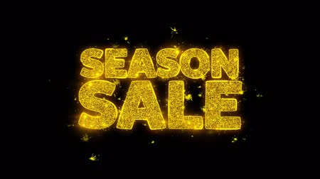biggest : Season Sale Typography Written with Golden Particles Sparks Fireworks Display 4K. Greeting card, Celebration, Party Invitation, calendar, Gift, Events, Message, Holiday, Wishes Festival .