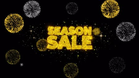 monszun : Season Sale Golden Greeting Text Appearance Blinking Particles with Golden Fireworks Display 4K for Greeting card, Celebration, Invitation, calendar, Gift, Events, Message, Holiday, Wishes . Stock mozgókép