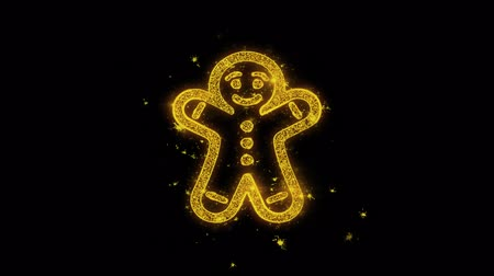 świety mikołaj : Christmas Gingerbread Ornaments Man Golden Particles Sparks Fireworks Display 4K. Greeting card, Celebration, Party Invitation, calendar, Gift, Events, Message, Holiday, Wishes Festival Wideo