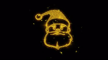 świety mikołaj : Christmas Santa Claus Mask Written with Golden Particles Sparks Fireworks Display 4K. Greeting card, Celebration, Party Invitation, calendar, Gift, Events, Message, Holiday, Wishes Festival .