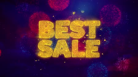 promover : Best Sale Greeting Text with Particles and Sparks Colored Bokeh Fireworks Display 4K. for Greeting card, Celebration, Party Invitation, calendar, Gift, Events, Message, Holiday, Wishes .