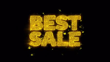 promover : Best Sale Typography Written with Golden Particles Sparks Fireworks Display 4K. Greeting card, Celebration, Party Invitation, calendar, Gift, Events, Message, Holiday, Wishes Festival .