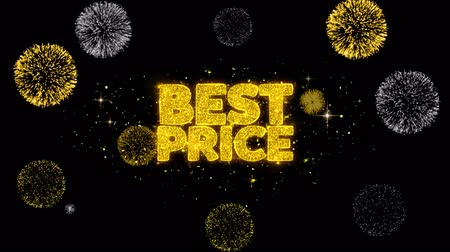 cupom : Best Price Golden Greeting Text Appearance Blinking Particles with Golden Fireworks Display 4K for Greeting card, Celebration, Invitation, calendar, Gift, Events, Message, Holiday, Wishes .