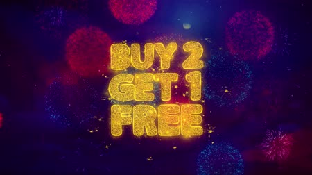 spadek : Buy 2 Get 1 Free Greeting Text with Particles and Sparks Colored Bokeh Fireworks Display 4K. for Greeting card, Celebration, Party Invitation, calendar, Gift, Events, Message, Holiday, Wishes .