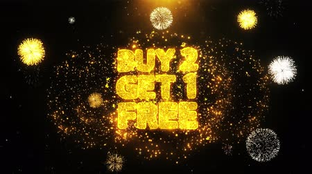 barganha : Buy 2 Get 1 Free Text Sparks Particles Reveal from Golden Firework Display explosion 4K. Greeting card, Celebration, Party Invitation, calendar, Gift, Events, Message, Holiday, Wishes Festival .