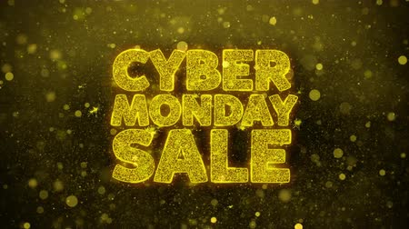 kortingen : Cyber Monday Sale Greetings kaart Abstract knipperen Golden Sparkles Glitter vuurwerk deeltje lus achtergrond. Geschenk, kaart, Uitnodiging, Viering, Evenementen, Bericht, Feestdagen, Festival. Stockvideo