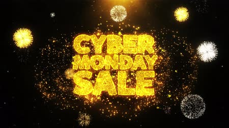 mysz : Cyber Monday Sale Text Sparks Particles Reveal from Golden Firework Display explosion 4K. Greeting card, Celebration, Party Invitation, calendar, Gift, Events, Message, Holiday, Wishes Festival . Wideo