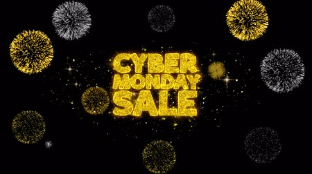 monção : Cyber Monday Sale Golden Greeting Text Appearance Blinking Particles with Golden Fireworks Display 4K for Greeting card, Celebration, Invitation, calendar, Gift, Events, Message, Holiday, Wishes . Stock Footage