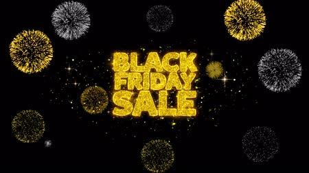 advert : Black Friday Sale Golden Greeting Text Appearance Blinking Particles with Golden Fireworks Display 4K for Greeting card, Celebration, Invitation, calendar, Gift, Events, Message, Holiday, Wishes . Stock Footage