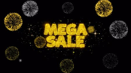 cupom : Mega Sale Golden Greeting Text Appearance Blinking Particles with Golden Fireworks Display 4K for Greeting card, Celebration, Invitation, calendar, Gift, Events, Message, Holiday, Wishes .