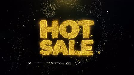 çıkartmalar : Hot Sale Written Gold Glitter Particles Spark Exploding Fireworks Display 4K . Greeting card, Celebration, Party Invitation, calendar, Gift, Events, Message, Holiday, Wishes Festival .
