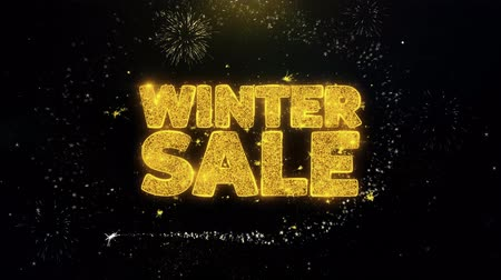 vybírání : Winter Sale Written Gold Glitter Particles Spark Exploding Fireworks Display 4K . Greeting card, Celebration, Party Invitation, calendar, Gift, Events, Message, Holiday, Wishes Festival .