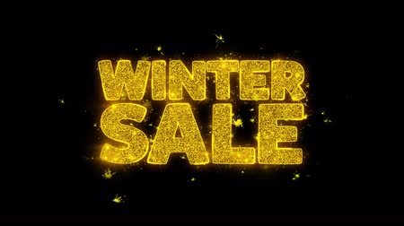 率 : Winter Sale Typography Written with Golden Particles Sparks Fireworks Display 4K. Greeting card, Celebration, Party Invitation, calendar, Gift, Events, Message, Holiday, Wishes Festival .