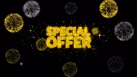 vzhled : Special Offer Golden Greeting Text Appearance Blinking Particles with Golden Fireworks Display 4K for Greeting card, Celebration, Invitation, calendar, Gift, Events, Message, Holiday, Wishes .