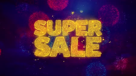Навидад : Super Sale Greeting Text with Particles and Sparks Colored Bokeh Fireworks Display 4K. for Greeting card, Celebration, Party Invitation, calendar, Gift, Events, Message, Holiday, Wishes . Стоковые видеозаписи