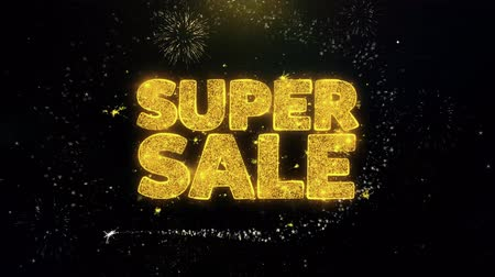 çıkartmalar : Super Sale Written Gold Glitter Particles Spark Exploding Fireworks Display 4K . Greeting card, Celebration, Party Invitation, calendar, Gift, Events, Message, Holiday, Wishes Festival . Stok Video