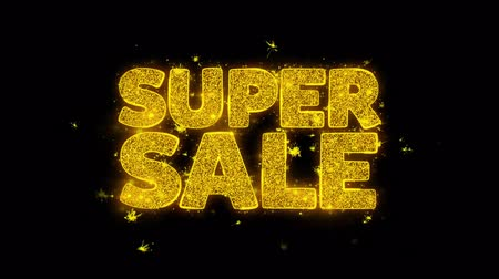 Навидад : Super Sale Typography Written with Golden Particles Sparks Fireworks Display 4K. Greeting card, Celebration, Party Invitation, calendar, Gift, Events, Message, Holiday, Wishes Festival .
