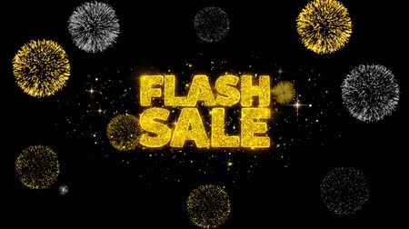 vinheta : Flash Sale Golden Greeting Text Appearance Blinking Particles with Golden Fireworks Display 4K for Greeting card, Celebration, Invitation, calendar, Gift, Events, Message, Holiday, Wishes .