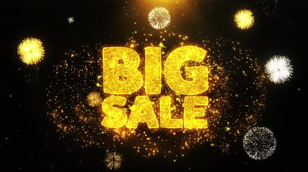 vinheta : Big Sale Text Sparks Particles Reveal from Golden Firework Display explosion 4K. Greeting card, Celebration, Party Invitation, calendar, Gift, Events, Message, Holiday, Wishes Festival .