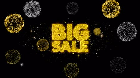 azaltmak : Big Sale Golden Greeting Text Appearance Blinking Particles with Golden Fireworks Display 4K for Greeting card, Celebration, Invitation, calendar, Gift, Events, Message, Holiday, Wishes . Stok Video