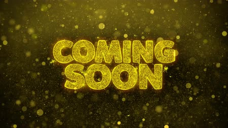 подиум : Coming Soon Greetings card Abstract Blinking Golden Sparkles Glitter Firework Particle Looped Background. Gift, card, Invitation, Celebration, Events, Message, Holiday, Festival.