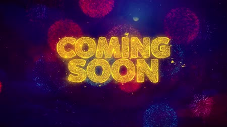подиум : Coming Soon Greeting Text with Particles and Sparks Colored Bokeh Fireworks Display 4K. for Greeting card, Celebration, Party Invitation, calendar, Gift, Events, Message, Holiday, Wishes .