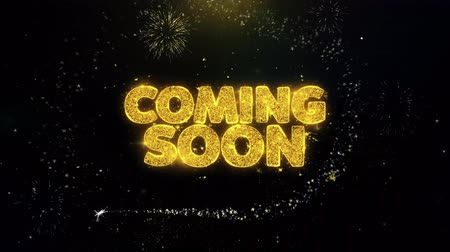Войти : Coming Soon Written Gold Glitter Particles Spark Exploding Fireworks Display 4K . Greeting card, Celebration, Party Invitation, calendar, Gift, Events, Message, Holiday, Wishes Festival .