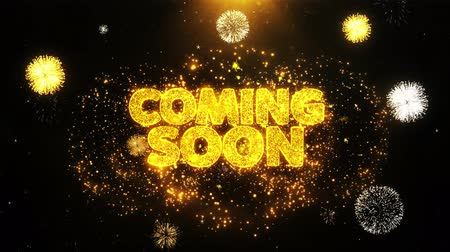 coming : Coming Soon Text Sparks Particles Reveal from Golden Firework Display explosion 4K. Greeting card, Celebration, Party Invitation, calendar, Gift, Events, Message, Holiday, Wishes Festival . Stock Footage