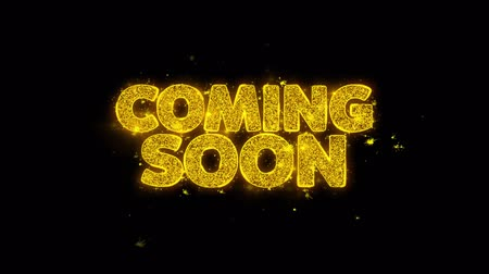 подиум : Coming Soon Typography Written with Golden Particles Sparks Fireworks Display 4K. Greeting card, Celebration, Party Invitation, calendar, Gift, Events, Message, Holiday, Wishes Festival .