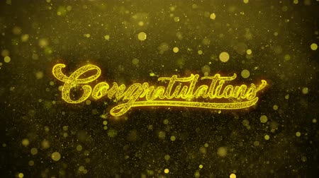 cíle : Congratulations Greetings card Abstract Blinking Golden Sparkles Glitter Firework Particle Looped Background. Gift, card, Invitation, Celebration, Events, Message, Holiday, Festival