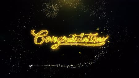 tür : Congratulations Written Gold Glitter Particles Spark Exploding Fireworks Display 4K . Greeting card, Celebration, Party Invitation, calendar, Gift, Events, Message, Holiday, Wishes Festival