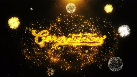 Поздравляю : Congratulations Text Sparks Particles Reveal from Golden Firework Display explosion 4K. Greeting card, Celebration, Party Invitation, calendar, Gift, Events, Message, Holiday, Wishes Festival .