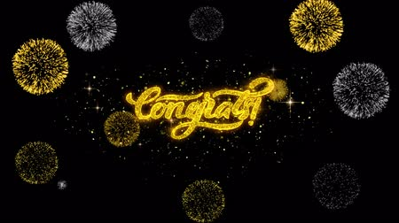 kaligrafia : Congrats Golden Greeting Text Appearance Blinking Particles with Golden Fireworks Display 4K for Greeting card, Celebration, Invitation, calendar, Gift, Events, Message, Holiday, Wishes . Wideo