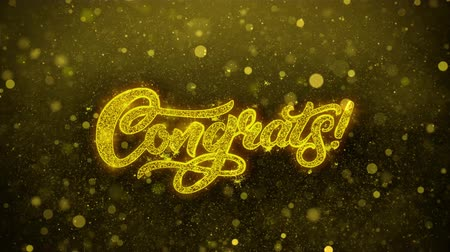 övgü : Congrats Greetings card Abstract Blinking Golden Sparkles Glitter Firework Particle Looped Background. Gift, card, Invitation, Celebration, Events, Message, Holiday, Festival 1 Stok Video