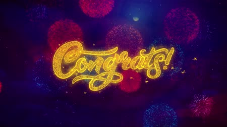 slova : Congrats Greeting Text with Particles and Sparks Colored Bokeh Fireworks Display 4K. for Greeting card, Celebration, Party Invitation, calendar, Gift, Events, Message, Holiday, Wishes . 1