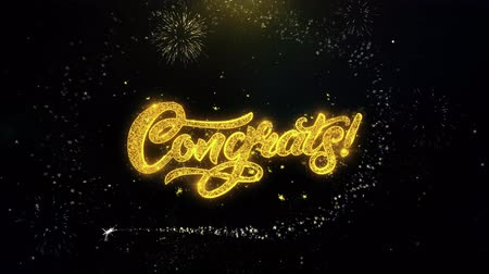 ação de graças : Congrats Written Gold Glitter Particles Spark Exploding Fireworks Display 4K . Greeting card, Celebration, Party Invitation, calendar, Gift, Events, Message, Holiday, Wishes Festival