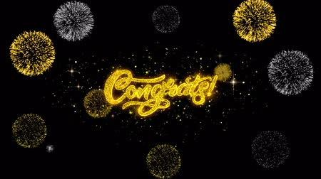 честь : Congrats Golden Greeting Text Appearance Blinking Particles with Golden Fireworks Display 4K for Greeting card, Celebration, Invitation, calendar, Gift, Events, Message, Holiday, Wishes . Стоковые видеозаписи