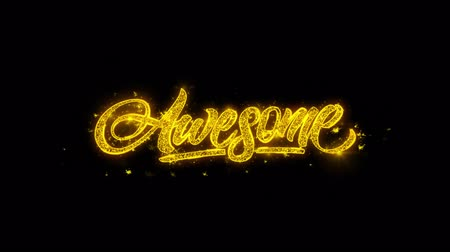 лозунг : Awesome Typography Written with Golden Particles Sparks Fireworks Display 4K. Greeting card, Celebration, Party Invitation, calendar, Gift, Events, Message, Holiday, Wishes Festival