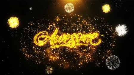 slogan : Awesome Text Sparks Particles Reveal from Golden Firework Display explosion 4K. Greeting card, Celebration, Party Invitation, calendar, Gift, Events, Message, Holiday, Wishes Festival . Stock Footage