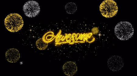 espetacular : Awesome Golden Greeting Text Appearance Blinking Particles with Golden Fireworks Display 4K for Greeting card, Celebration, Invitation, calendar, Gift, Events, Message, Holiday, Wishes .