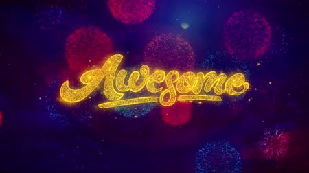 espetacular : Awesome Greeting Text with Particles and Sparks Colored Bokeh Fireworks Display 4K. for Greeting card, Celebration, Party Invitation, calendar, Gift, Events, Message, Holiday, Wishes .