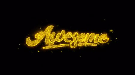slova : Awesome Typography Written with Golden Particles Sparks Fireworks Display 4K. Greeting card, Celebration, Party Invitation, calendar, Gift, Events, Message, Holiday, Wishes Festival