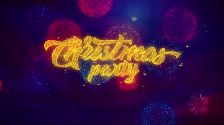 szampan : Christmas Party Greeting Text with Particles and Sparks Colored Bokeh Fireworks Display 4K. for Greeting card, Celebration, Party Invitation, calendar, Gift, Events, Message, Holiday, Wishes . Wideo