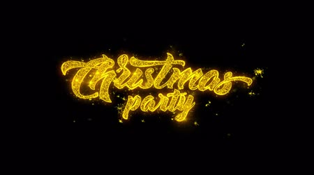 szampan : Christmas Party Typography Written with Golden Particles Sparks Fireworks Display 4K. Greeting card, Celebration, Party Invitation, calendar, Gift, Events, Message, Holiday, Wishes Festival .