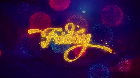 monção : Friday Greeting Text with Particles and Sparks Colored Bokeh Fireworks Display 4K. for Greeting card, Celebration, Party Invitation, calendar, Gift, Events, Message, Holiday, Wishes . Stock Footage