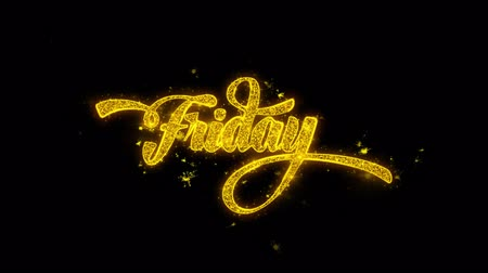 čtvrtek : Friday Typography Written with Golden Particles Sparks Fireworks Display 4K. Greeting card, Celebration, Party Invitation, calendar, Gift, Events, Message, Holiday, Wishes Festival