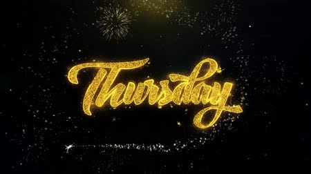 čtvrtek : Thursday Written Gold Glitter Particles Spark Exploding Fireworks Display 4K . Greeting card, Celebration, Party Invitation, calendar, Gift, Events, Message, Holiday, Wishes Festival